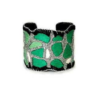 Jewelry - Hand embroidered green and silver cuff bracelet